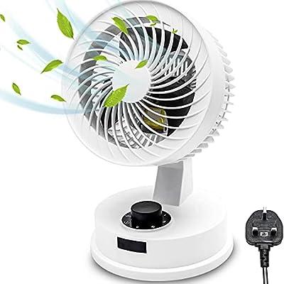 Elegant Life Air Circulator Fan Desk Cooling Fan Table Noiseless Fan, Turbo Fan, Three Fan Blades, 3 Speed Oscillating Electric Desk Home Office Fan, 75° Rotation, Powerful Airflow, Energy Saving