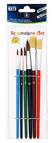 TSI 49116 Schulmalpinsel-Set 6-teilig, bunt lackiert, Haarpinsel 2,4,6,1 - Borstenpinsel 8,12, 6 Pinsel