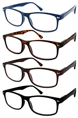 TBOC Gafas de Lectura Presbicia Vista Cansada - (Pack 4 Unidades) Graduadas +3.00 Dioptrías Montura de Pasta Azul Marrón Negra Carey Diseño Moda Hombre Mujer Unisex Lentes de Aumento Leer Ver Cerca
