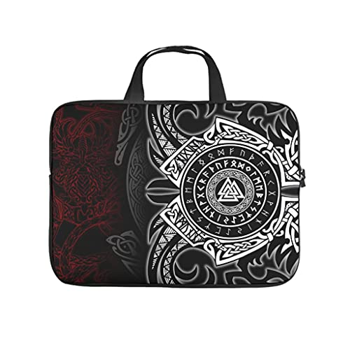 Facbalaign Funda para portátil con asa, diseño vikingo con palabra Totem Mythos Tattoo