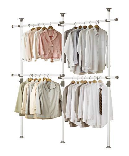 Prince Hanger, One Touch Double 2 Tier Adjustable Hanger, Clothing Rack, Garment Rack, Freestanding, Organizer, Heavy Duty, Tension Rod, PHUS-0033, Made in Korea