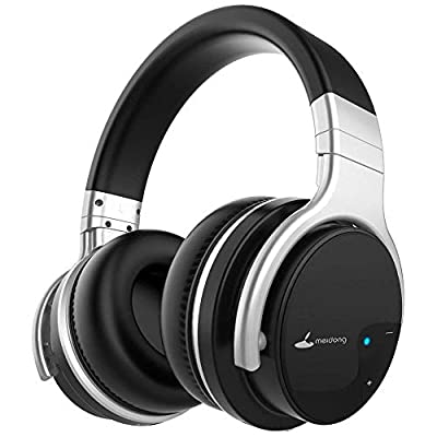Meidong Active Noise Cancelling Bluetooth Headphones, Wireless Headphones with Microphone over Ear HiFi Stereo Deep Bass 30H Playtime(E7B)