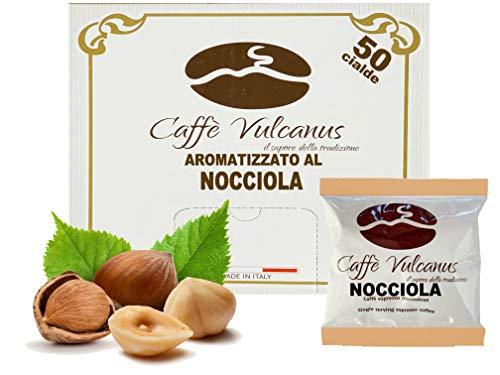 Caffè Vulcanus - 50 cialde compostabili ESE44 - Caffè aromatizzato alla nocciola