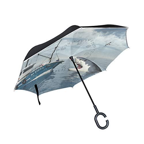 Review PNGLLD Sea Shark Motorboat Inverted Umbrella Double Layer Reverse Folding Umbrella with C-Sha...