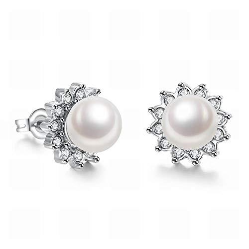 JY Fashion K Aretes de Oro con Perlas de Circonitas Rotas para Mujer/Acero Inoxidable/Hipoalergénico/Plata Brillante/Pendientes de Perlas Joyas de la novedad/A