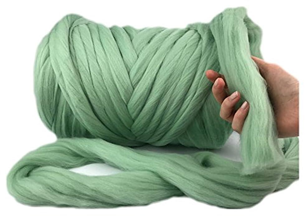 Chunky Yarn Super Bulky Giant Wool Yarn Roving For Arm Knitting Extreme Knitting (4.4lbs(2kg), Fern Green)