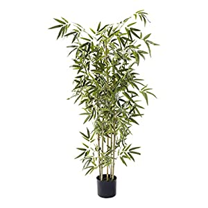 BLOOMR Potted Artificial Bamboo Plant, Trendy Luxury Silk Fabric Green Decorative Indoor Faux Bamboo Tree, 63″ Tall, 4.74 lbs (5807-160)
