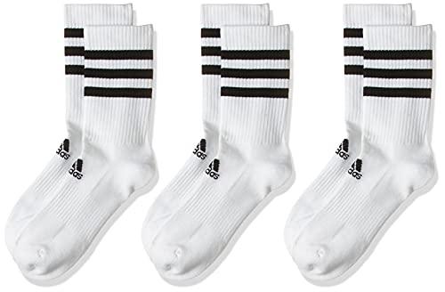adidas 3 Paar 3-Streifen Cushion Crew Socken, White/White/White, L
