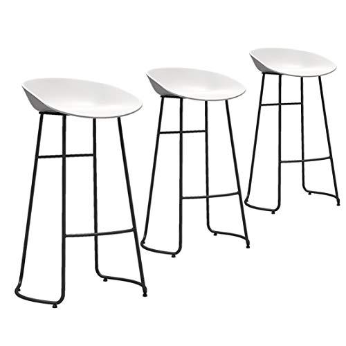 Barkruk set van 3 aanrechtblad - Witte PP kunststof zitting - Zwart metalen poten - Stoelen voor keuken Eetkamer - Zithoogte 65cm / 70cm / 75cm