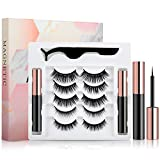 [2021 Upgrade] Magnetic Eyelashes, 5 Pairs Magnetic Lashes and Eyeliner Kit, No Glue Needed, Natural Look Magnetic Fake Lashes with 2 Tubes of Magnetic Eyeliner & Tweezers-Easy Use and Reusable