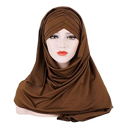 GuanXiao Criss Cross Muslim Bufanda Hijabs Sólido Color Algodón Mezcla Mujeres Headwrap Jersey Turban Cabeza Pañal Diadema en la Cabeza Papita Papita Tradicional Turbante de Mujeres (Color : Coffee)