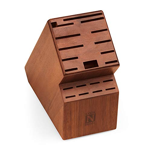 Cook N Home Bloco de armazenamento de faca, 20 compartimentos, madeira de acácia, 2660