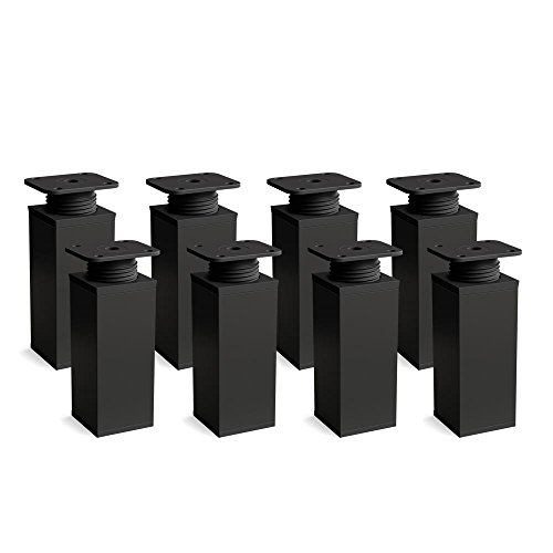 sossai® Patas para muebles MFV1   8 piezas   altura regulable   Diseño: Negro mate   Altura: 120 mm (+20mm)   Perfil cuadrado: 40 x 40 mm  Tornillos incluidos