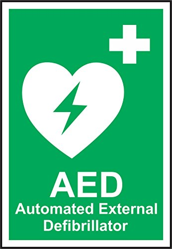 Etiqueta - Seguridad - Advertencia - Señales de seguridad de emergencia - Desfibrilador externo automático A5 AED 15x20cm - oficina, empresa, escuela, hotel