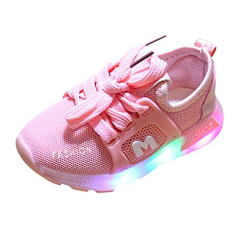 Baby Girls Boys LED Sneaker, Mesh Breathable Comfort Sport Flashing Shoes Lace up Footwear Pink