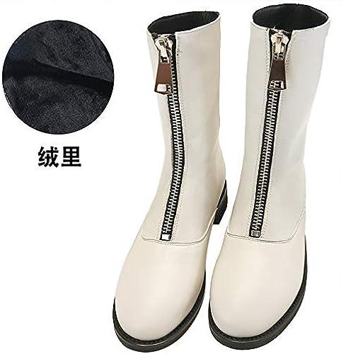 Shukun bottes Bottines Avant à Fermeture éclair Femme Petite avec des Bottes Martin Femme épaisse avec des Bottes en Coton Chaussures Enfants Bottes d'hiver Noir