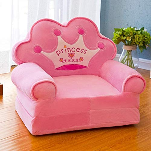 Sparen Sie Platz, warm und vielseitig Folding Kinder Sofa, reizende Prinzessin Crown Sofa, Mini-Kinder Sofa, weicher bequemer Mehrzweck Sofa, Stuhl, Kinderschlafzimmer Dekoration, Rosa, Das kleine Sof