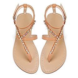 Nude Rhinestones Gladiator Flat Sandal With Ankle Strap