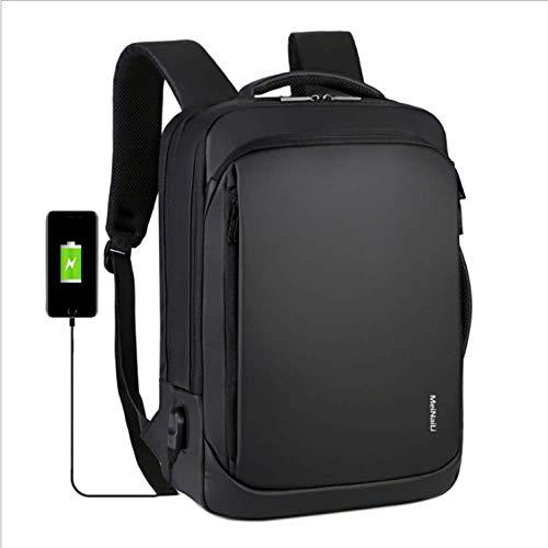 Laptop-Rucksack mit USB-Ladeanschluss, Diebstahlschutz-Schultasche Business Travel-Rucksack für bis zu 15,6-Zoll-Laptops, Rucksack für Männer und Frauen-Schwarz
