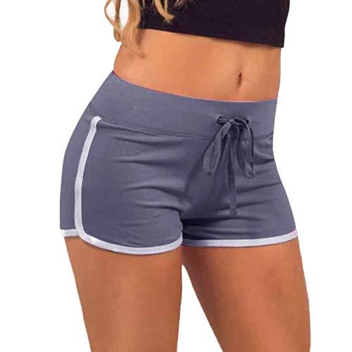 Pantalones cortos de deporte para mujer, para verano, pantalones de deporte, elásticos, ligeros, para correr, para el tiempo libre, fitness, gris, L