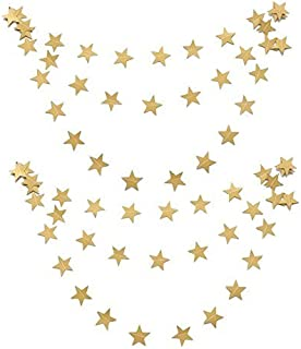 jijAcraft 26 Feet Star Paper Garland,Large Gold Glitter Paper Stars Banner,Hanging Decoration for Wedding Birthday Christmas Festival Party-4 inch/10cm