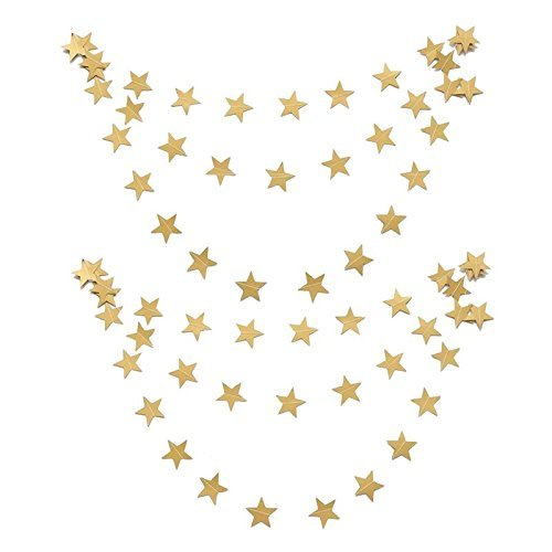 jijAcraft Gold Glitter Star Bunting,16 M Paper Banner, 4 PCS Hanging Wall Decoration Bunting Garland(4 meters for each)