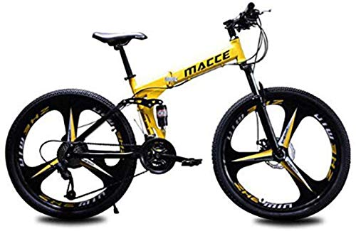RDJSHOP Bicicleta de Montaña Plegable para Adultos, Bicicleta 24/26 Pulgadas con Freno de Disco Doble 21 Velocidades Estructura de Acero Al Carbono Bicicleta MTB con Rueda de 3 Radios,Yellow-24inch