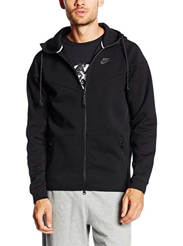 Nike Herren Jacke Tech Fleece 1m Windrunner, schwarz (011), S, 545277-011