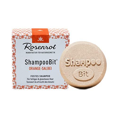 Rosenrot Naturkosmetik - ShampooBit® - festes Shampoo Orange-Salbei - 55g - Für fettiges & glanzloses Haar. Tonisiert und & erfrischt den Ansatz.