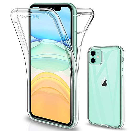 SOGUDE Gnews Cover per iPhone 11, Custodia per iPhone 11 Transparent 360° Full Body Protezione Silicone TPU Premium Resistente Case Cover per iPhone 11