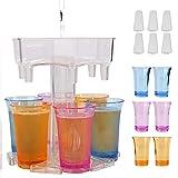 Dispensador portátil de 6 chupitos para rellenar líquidos, Dispensador de chupitos para fiestas en casa Dispensador de cócteles Dispensador de bebidas alcohólicas (transparente)