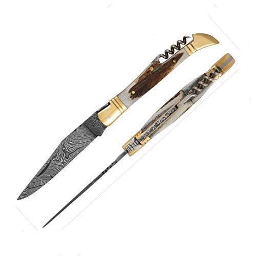5472 Laguiole Handwerker hervorragende Damaskus Stahl &Antler Bone knochengriff. Camping Messer, Puli Damaststahl Messer, Fischmesser, Taschenmesser