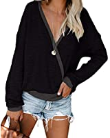 Wrap Sweaters for Women Deep V Neck Tops Long Sleeve Cozy Shirts Fall Clothes Black 2XL