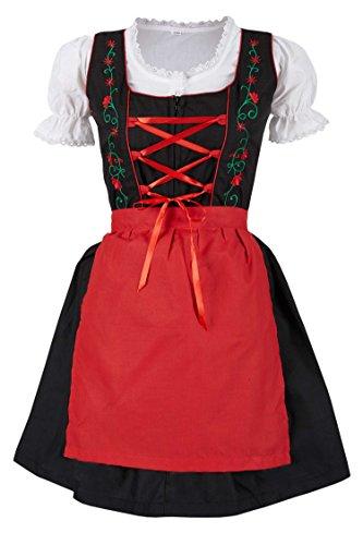 MS-Trachten MS-Trachten 3 teiliges Kinder Dirndl Trachtenkleid Steffi (104, rot)