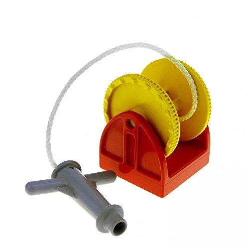 Bausteine gebraucht 1 x Lego Duplo Seilwinde rot 2x2 Seil Weiss mit Spritz Düse grau Rolle gelb Feuerwehr Hubschrauber 4654c03
