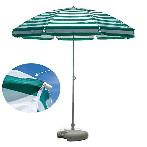 Zixin 2.2m Jardín Playa Patio Paraguas, Parasol protección UPF 40 Verde-Blanco de Gaza, UV-Proof - Base no Incluido