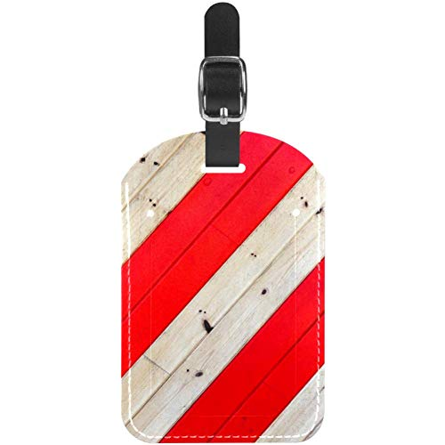 Luggage Tags Red Brown Line Wooden Board Leather Travel Suitcase Labels 1 Packs