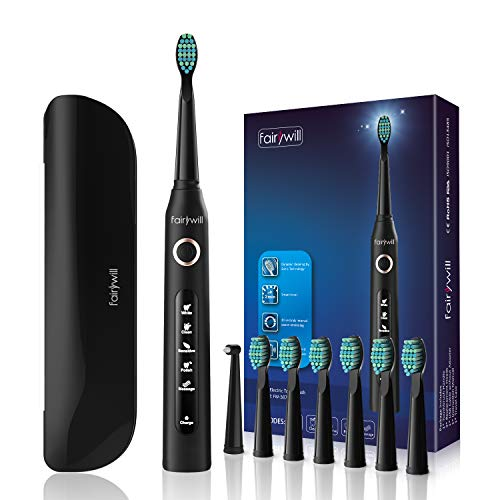 Fairywill Electric Toothbrush with 5 Modes, Smart Timer, 8 Brush Heads, Fully Rechargeable with One 4 Hour Charge Last 30 Days, Whitening Ultra Sonic Toothbrush with A Travel Case for Adults in Black