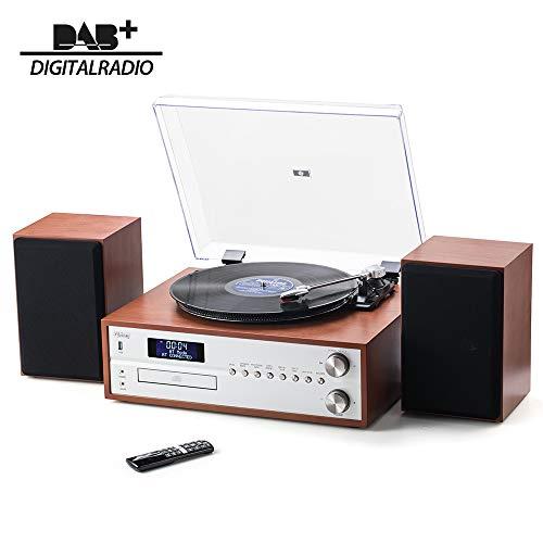 Shuman Bluetooth 7-in-1 in Legno HI-FI Music Center con Giradischi in Vinile, Radio FM / DAB, Lettore CD,Riproduzione / Registrazione USB (Marrone Scuro MC-265DBT)