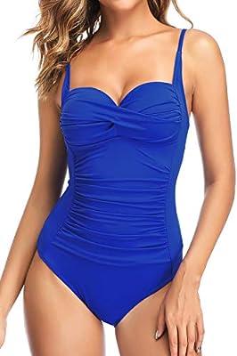 PERONA Retro Swimsuit Women's Ruched Vintage Swimwear Tummy Control Swimsuit Push Up One Piece Bathing Suit (16, Shine) Royal Blue