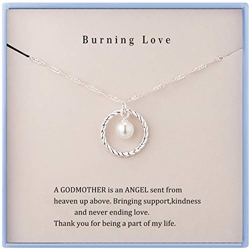 Godmother Necklace Godmother Gifts from Goddaughter&Godson Sterling Silver Circle Necklace for Women Birthday Gifts