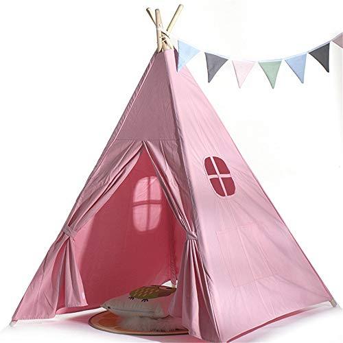 Tipi tent voor kinderen Children's Tent Indian Roze Tent 4 Premium Grenen Staaf Kamer Decoratie Kerst Decoratie Tent Rekening Met Handtas Gebruik binnen en buiten (Color : Pink, Size : As shown)