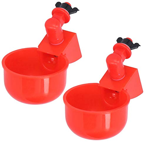 Chicken Drinking Cup, 2Pcs Red Eye‑Catching Plastic Convenient Fully Automatic Poultry Drinking Machine, Simple Installation Chicken Watering Cups, Poultry Drinking Bowl for Poultry Pigeon Bird