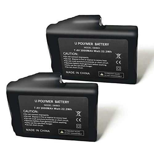 Sun Will 2pcs Wiederaufladbare 7,4 V 2200 Mah Li-Ionen-Batterien FüR Beheizte Handschuhe Socken HüTe Sturmhaube Skimaske Kleidung