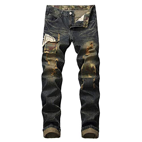 MR. R Men's Fashion Ripped Biker Jeans 5 Colors (40, Dark Blue)