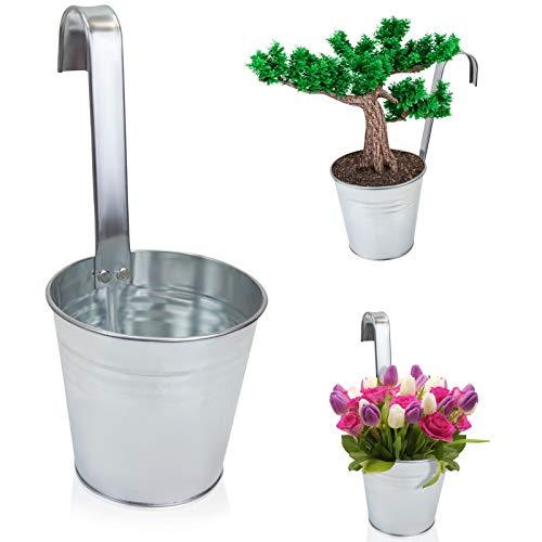 esto24® 6er Set Hängetopf Pflanztopf Übertopf mit Haken Silber Zink Blumentopf Vase Balkon Garten - 4
