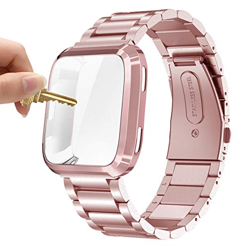Maxjoy Compatible with Fitbit Versa Bands, Versa 2 Metal Band Large Stainless Steel Bracelet Wristband with Protective Cover Case for Men Women, Compatible with Fitbit Versa 2 1 Smart Watch,Rose Gold