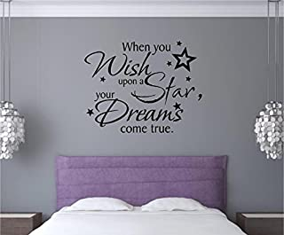 Enchantingly Elegant When_You_ Wish Upon A Star Dreams Vinyl Decal Wall Sticker Art Words Lettering Quote 29x22, 29