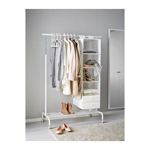 Ikea RIGGA Garderobenständer, weiß, Metall, White, 111 x 51 x 126 cm