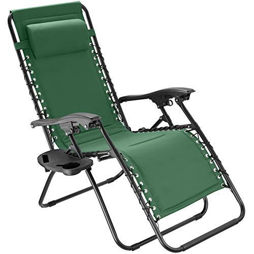 tectake 800885 Gartenstuhl Hochlehner, stufenlos verstellbare Rückenlehne, mit dekorativer Gummischnürung, ansteckbare Ablage, klappbarer Liegestuhl inkl. Kopfpolster (Grün | Nr. 403870)